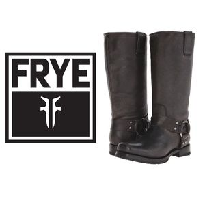 Frye Heath Harness Boot Size 6 black brown leather